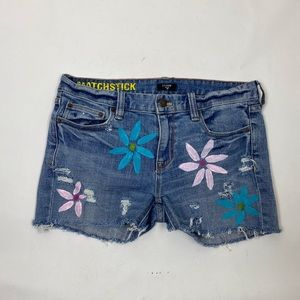 J. Crew Custom Hand Painted Flower Jean Shorts